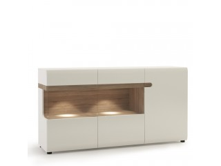 Abbie - 3 Door Glazed Sideboard in white with an Truffle Oak Trim in white high gloss MDF with an Truffle Oak trim.