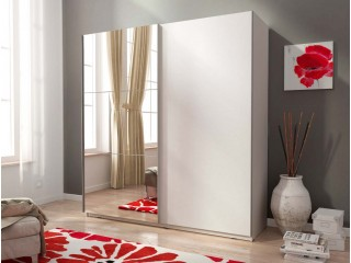 MIKA 150cm - Biały + Lustro, szafa z  drzwiami przesuwanymi
