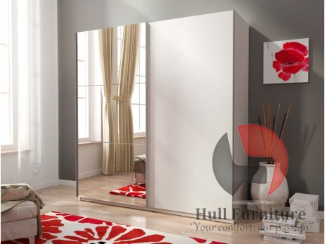 MIKA 150cm - White - Sliding door wardrobe with mirror