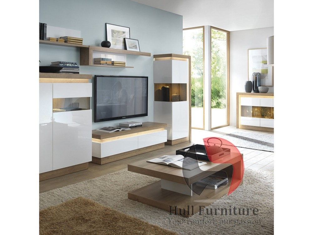 Lyon 2 Drawer TV Cabinet In Riviera Oak White High Gloss Size W 1460 X
