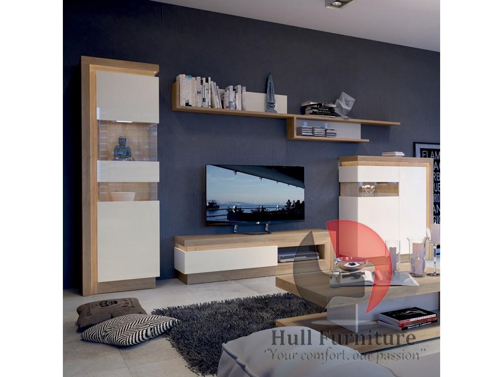 Lyon 1drawer TV Cabinet In Riviera Oak White High Gloss Size W 1300x H 417