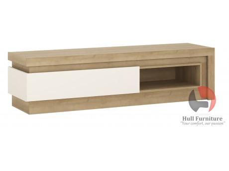 Lyon 1 Drawer TV Cabinet With Open Shelf In Riviera Oak White High Gloss