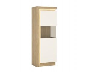 Lyon Narrow display cabinet (RHD) 164.1cm high in Riviera Oak/White High Gloss