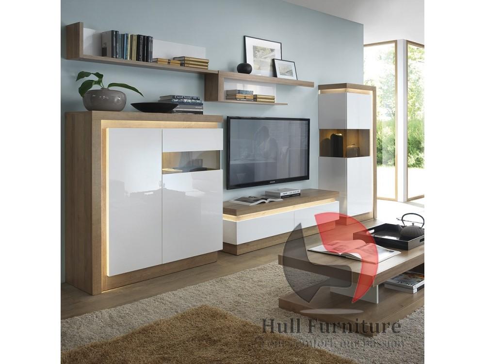 lyon 2 door designer cabinet rh in riviera oak white high gloss hull furniture hull furniture. Black Bedroom Furniture Sets. Home Design Ideas