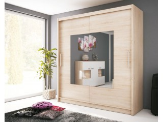 VICTORIA IX 200cm - Oak sonoma + Oak sonoma chocolate - Sliding door wardrobe with mirror