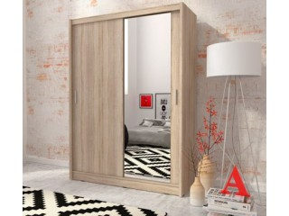 MAJA 150cm - Oak sonoma - Sliding door wardrobe with mirror