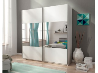 MIKA I 150cm or 200cm - White  - Sliding door wardrobe with mirror