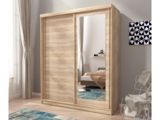 ALASKA 200cm - Oak sonoma - Sliding door wardrobe with mirror
