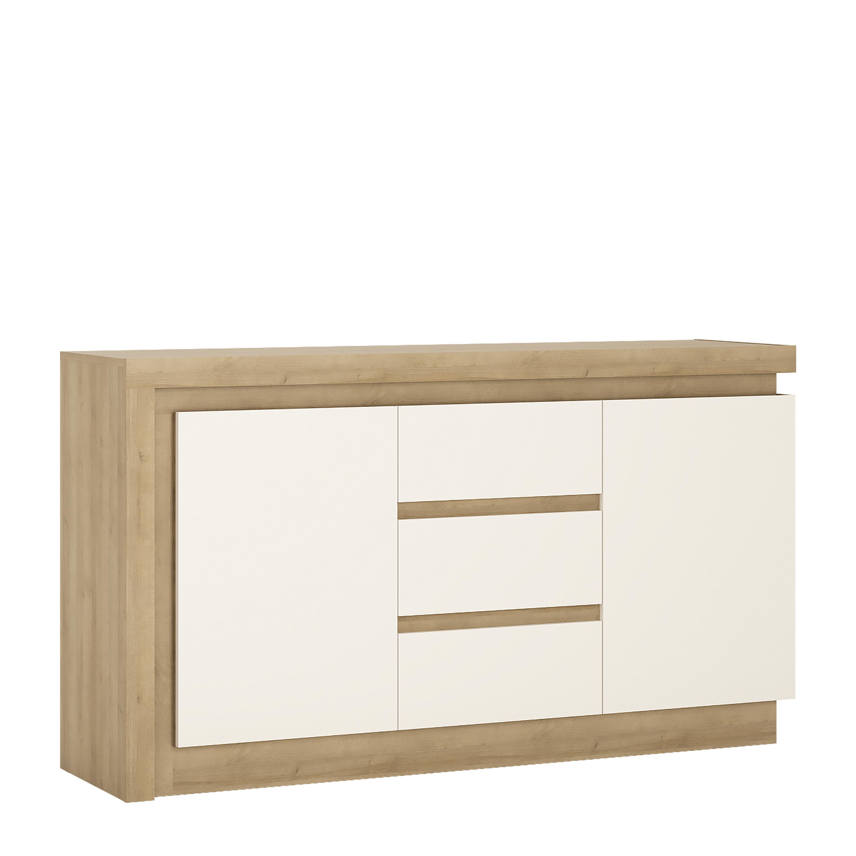 Lyon 2 door 3 drawer sideboard in Riviera Oak/White High Gloss, hull ...
