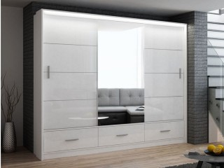 MARSYLIA wardrobe, white gloss + mirror 255cm