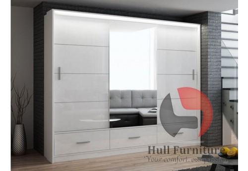 MARSYLIA wardrobe, white gloss + mirror 255cm