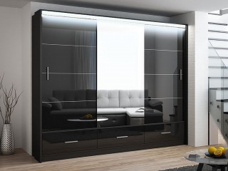 MARSYLIA wardrobe, black gloss + mirror 255cm