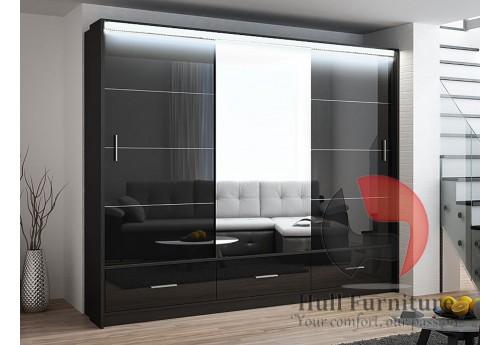 MARSYLIA wardrobe, black gloss + mirror 255cm