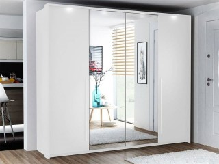 Wardrobe BONITA 256 White + Mirror