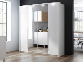 Szafa BONITA 209cm z oświetleniem, biała/ lustro