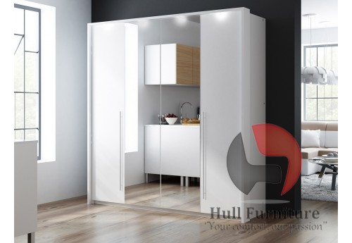 Wardrobe BONITA 209cm White + Mirror