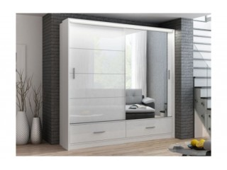 MARSYLIA wardrobe, white gloss + mirror 208cm