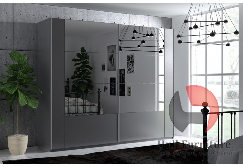 SANTIAGO, graphite + dark mirror w:250cm h:215cm d:65cm