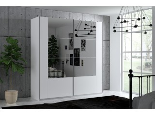 SANTIAGO wardrobe, white matt + dark mirror 250cm
