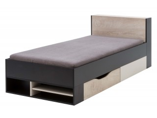 Mercury II  M14 Single bed with drawer and Pull-out panel with shelves