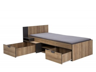 Jupiter J1 Single bed with 2 drawers and shelves