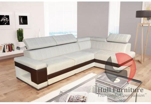 Corner sofa bed with bedding storage, sleep function, elastic foam ...