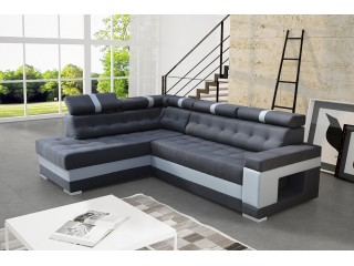 BOSS 180x270cm - made to measure, modern corner sofa bed with adjustable headrests