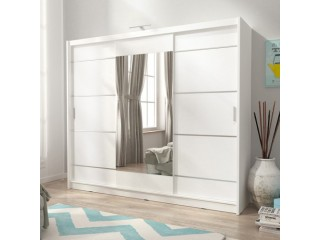 Victoria 250cm - White Alu - Sliding door wardrobe with FREE LED LIGHT