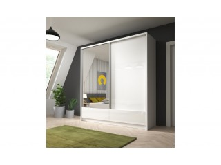 Aron - Sliding Door Wardrobe 200cm with 2 drawers - White,  White Gloss+ Mirror