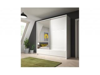 Aron - Szafa przesuwna z lustrem i szufladami 200cm - Biały, Biały połysk + lustro