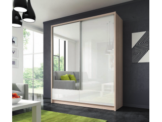 Aron - Sliding Door Wardrobe 200cm with 2 drawers - Oak sonoma/White gloss
