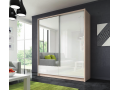 Aron - Sliding Door Wardrobe 200cm with 2 drawers - Oak sonoma/White gloss