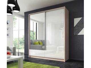Aron - Szafa przesuwna z lustrem i szufladami 180cm - Dąb Sonoma,  Biały połysk + lustro