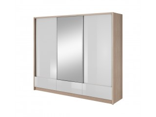 Aron - 3 Door Sliding Wardrobe - 250cm with 3 drawers - Oak sonoma/White gloss