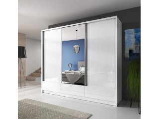 Aron - 3 Door Sliding Wardrobe - 250cm with 3 drawers - White /White gloss