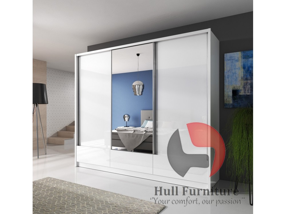 Aron Sliding Door Wardrobe 250cm With 2 Drawers Hull Furniture Your Comfort Our Passion Modern Traditional Homes