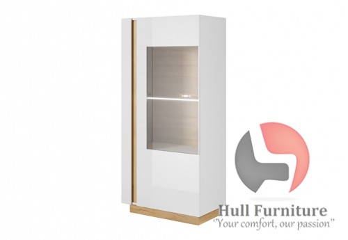 Ares 72 cm - 72/154/40 cm, Display cabinet, White gloss with oak
