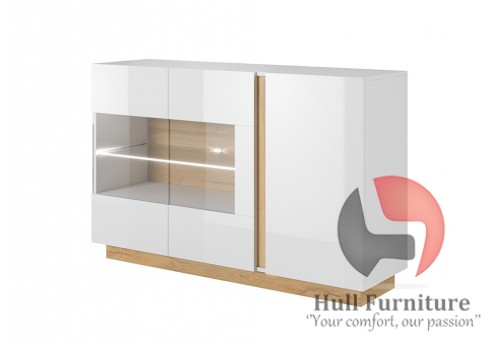 Ares 138 cm - 138.2/90.5/40 cm, Sideboard/Display, White gloss with oak