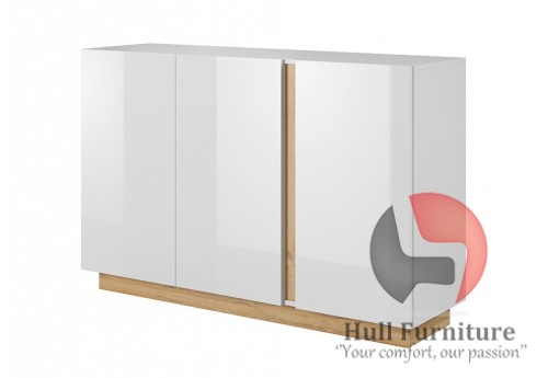 Ares 138 cm - 138.2/90.5/40 cm, Sideboard, White gloss with oak