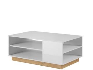 Ares Stolik Kawowy 100/45.5/60 cm, RTV Unit, biały + biały połysk + Dąb