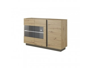 Ares 138 cm - 138.2/90.5/40 cm, Sideboard/Display, Oak + Grey