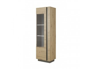 Ares 60 cm - 60/193.5/40 cm, Display cabinet, Oak + Grey.