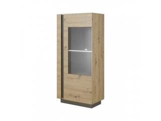 Ares 72 cm - 72/154/40 cm, Display cabinet,  Oak + Grey.