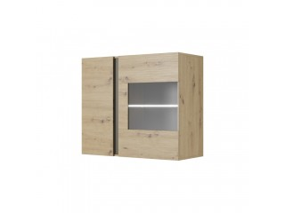 Ares 96 cm - 96.5/82.5/40 cm, Wall Display Cabinet, oak + grey.
