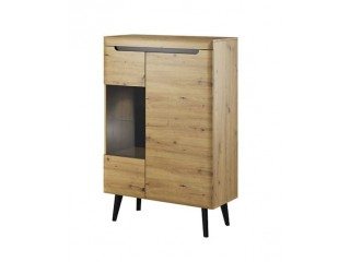 Adele - Low Display Cabinet - 90 / 134 / 40 cm, artisan oak + black trim