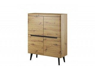 Adele - Sideboard -107 / 134 / 40 cm, artisan oak + black trim
