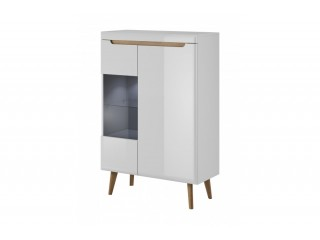 Adele - Low Display Cabinet - 90 / 134 / 40 cm, white / white gloss + riviera oak trim
