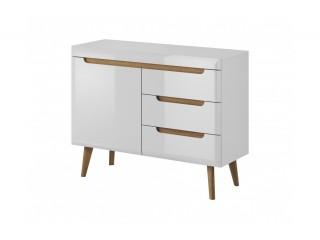 Adele - Sideboard - 107 / 83 / 40 cm, white / white gloss + riviera oak trim