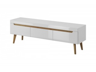 Adele - TV unit - 160 / 50 / 40 cm, white / white gloss + riviera oak trim