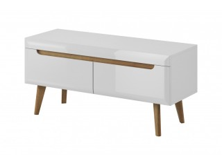 Adele - TV unit - 107/ 50 / 40 cm, white / white gloss + riviera oak trim